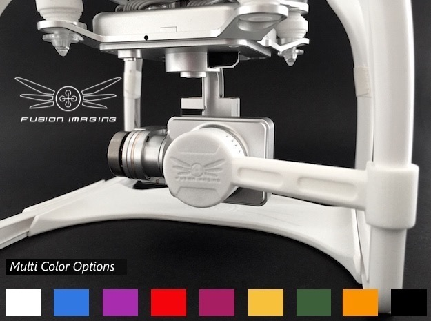 DJI Phantom 2 Vision + Gimbal Lock / Lens Cap (V2) in White Strong & Flexible Polished