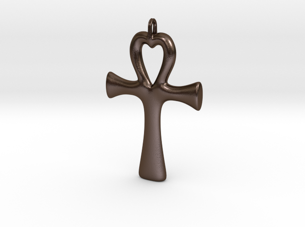 Ankh heart pendant in Polished Bronze Steel