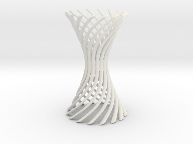 Curved Spiral Hyperboloid in White Natural Versatile Plastic