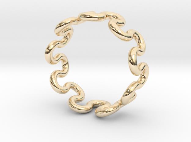 Wave Ring (16mm / 0.62inch inner diameter) in 14K Yellow Gold