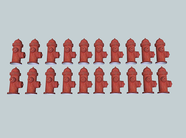 20 N-scale (1:160) Fire Hydrants in White Acrylic