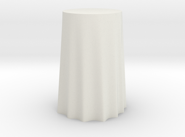 "1:24 Draped Bar Table - 36"" diameter in White Natural Versatile Plastic"