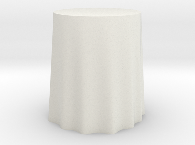 "1:24 Draped Table - 24"" diameter in White Strong & Flexible"