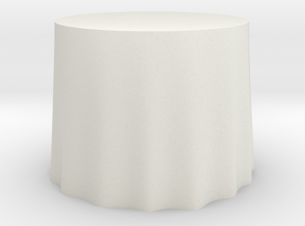 "1:24 Draped Table - 36"" diameter in White Natural Versatile Plastic"