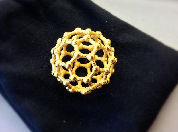 Truncated Icosahedron (bucky ball) in Polished Gold Steel