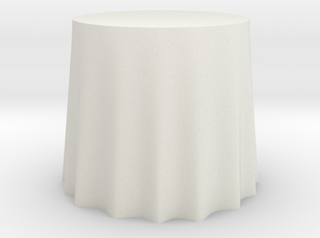 "1:48 Draped Table - 30"" diameter in White Natural Versatile Plastic"