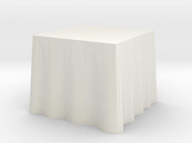 "1:48 Draped Table - 30"" square in White Strong & Flexible"