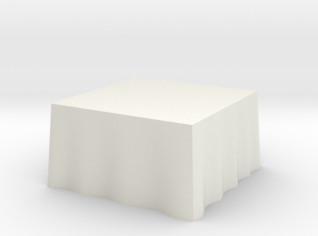 "1:48 Draped Table - 48"" square in White Natural Versatile Plastic"