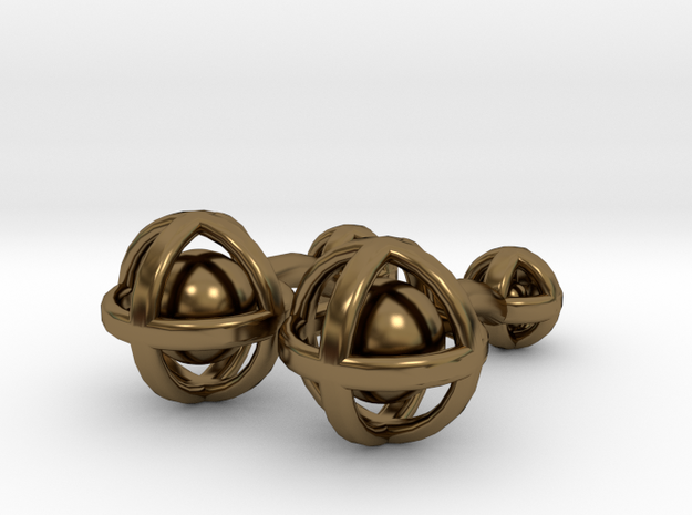 Ball In Sphere Cufflinks in Polished Bronze