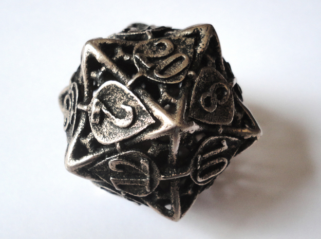 Botanical Die20 (Aspen) 3d printed In stainless steel and inked
