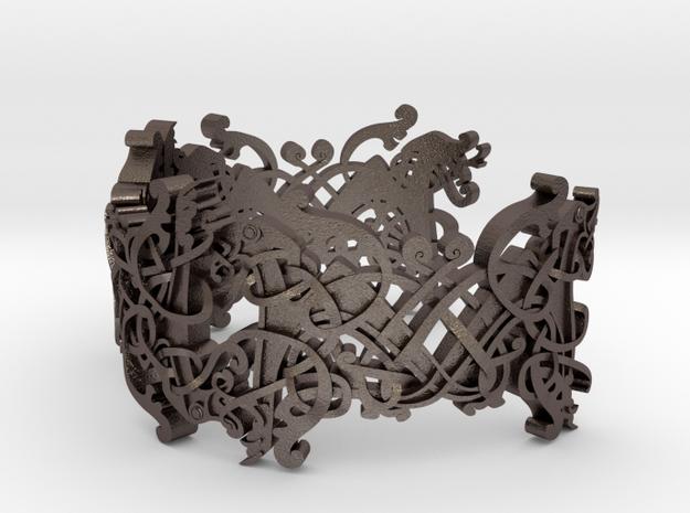 Viking bracelet in Polished Bronzed Silver Steel