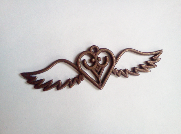 Flying Heart in Polished Bronze Steel
