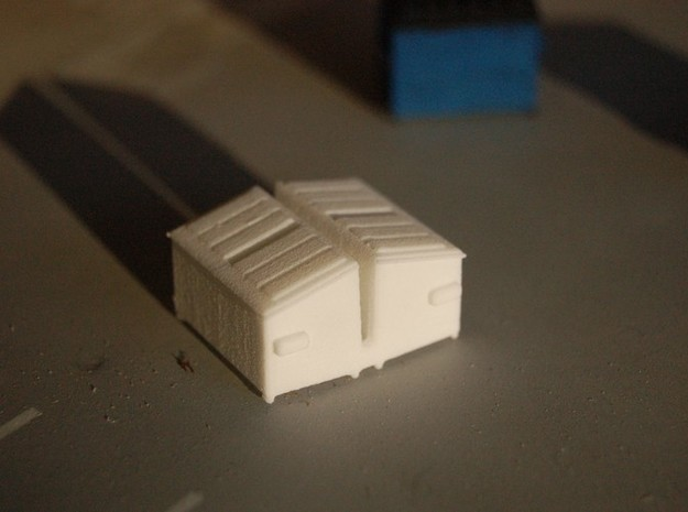 Dumpster Slanted 2 Cubic Yard HO 1/87 Scale- Pair in White Natural Versatile Plastic