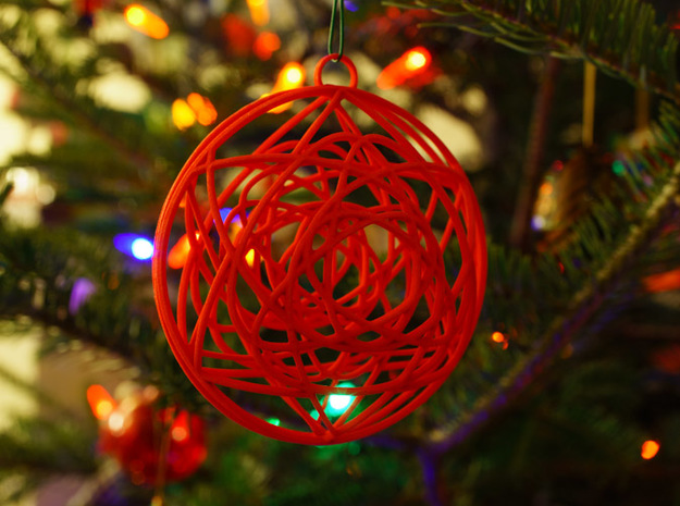 Stained Glass Ornament 3d printed Printed in Coral Red, on tree