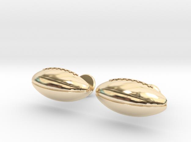 Football Cufflinks in 14k Gold Plated Brass