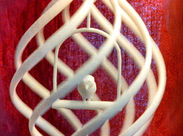 Birdcage Spinning Ornament  in White Strong & Flexible