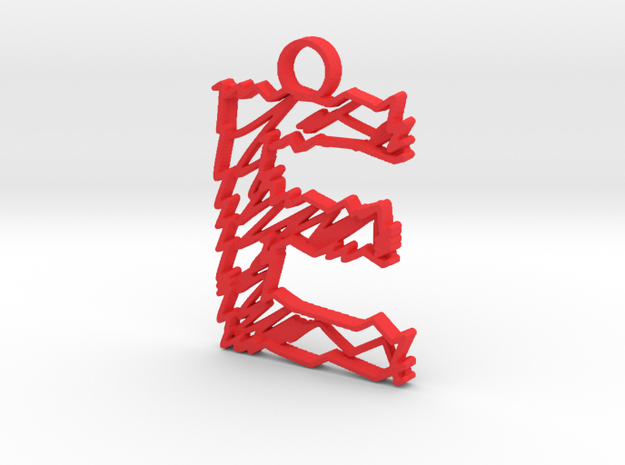 "Sketch ""E"" Pendant in Red Processed Versatile Plastic"