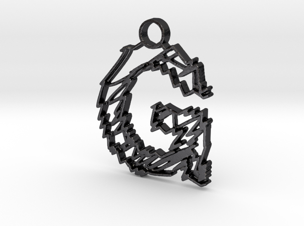 "Sketch ""G"" Pendant in Polished and Bronzed Black Steel"