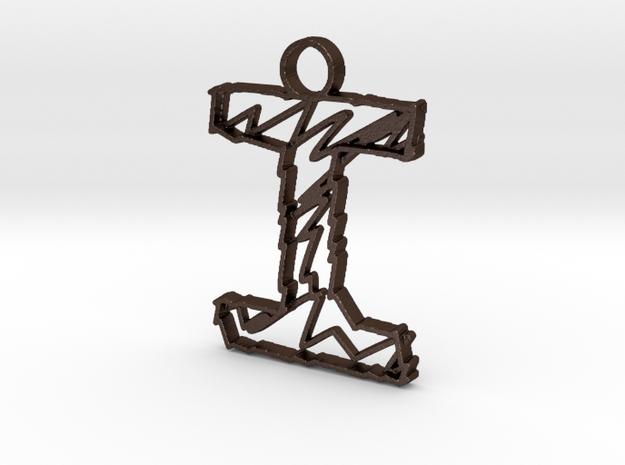 """Sketch """"I"""" Pendant in Matte Bronze Steel"""