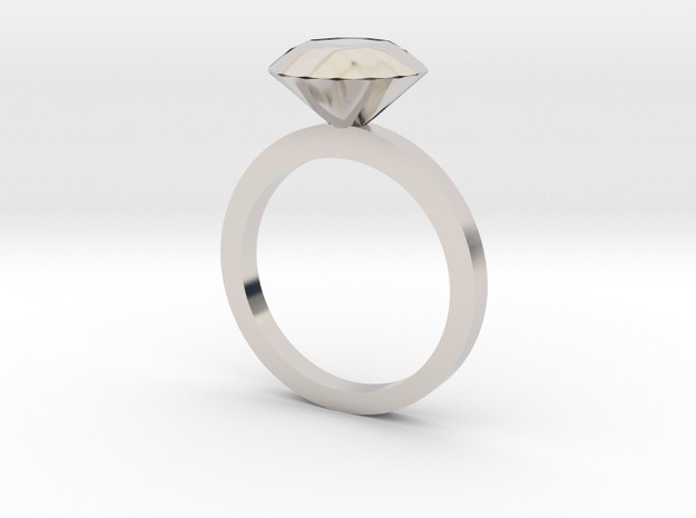 Ring5125 3D Silver Diamond Ring Size6 3d printed