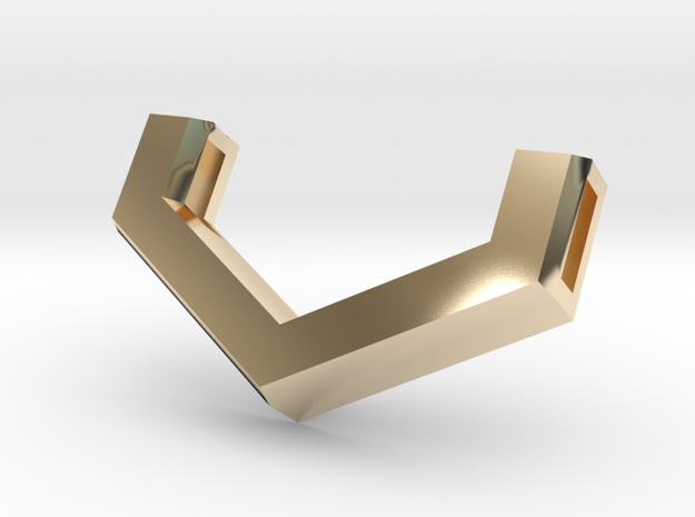 Vossen V Version2 Pendant 25X14.5mm in 14k Gold Plated Brass