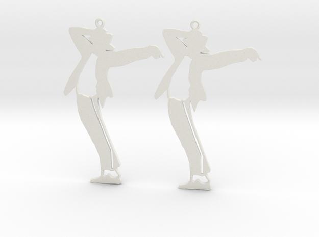 Michael Jackson Earrings Ver.1 in White Natural Versatile Plastic