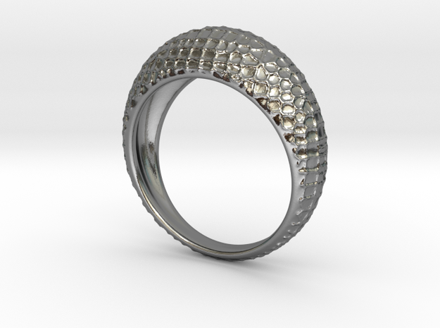 Skin ring in Polished Silver: Large