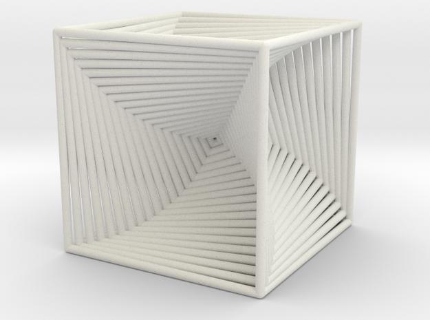 0049 Cube Line Design (10cm) #002 in White Natural Versatile Plastic