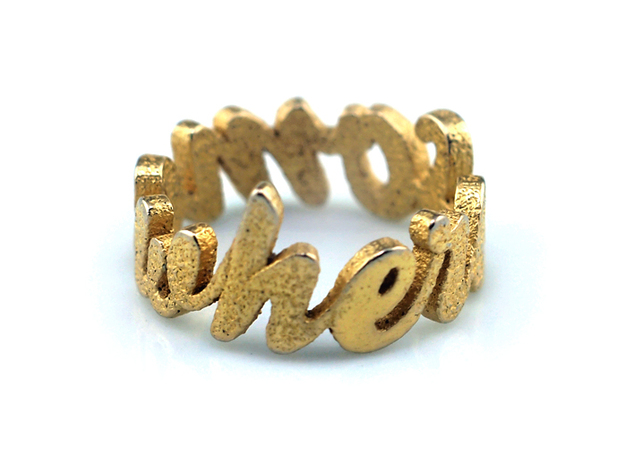 Somewhere Ring (various sizes) 3d printed Gold Plated Glossy