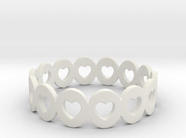 Hearts Galore Ring Size 6 in White Natural Versatile Plastic