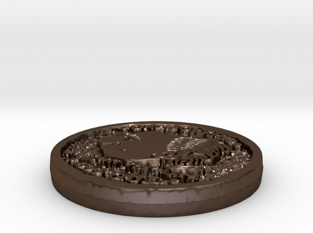 Zorkmid Coin in Polished Bronze Steel
