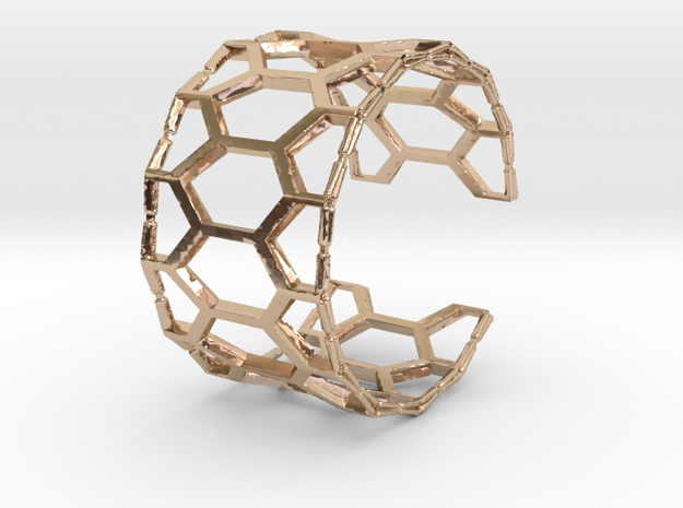 Honey cuff bracelet (small/medium, loose fit) in 14k Rose Gold Plated Brass