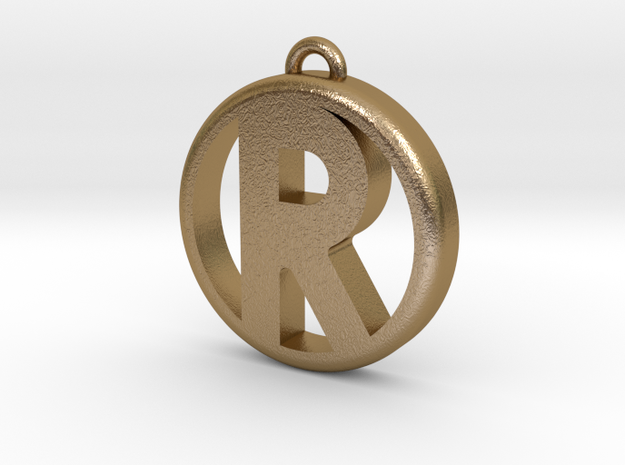 Pendant - Letter R in Polished Gold Steel