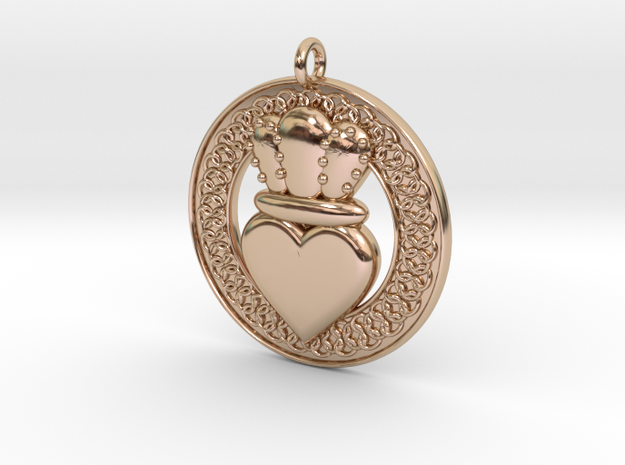 Claddagh Pendant 1 Model in 14k Rose Gold Plated