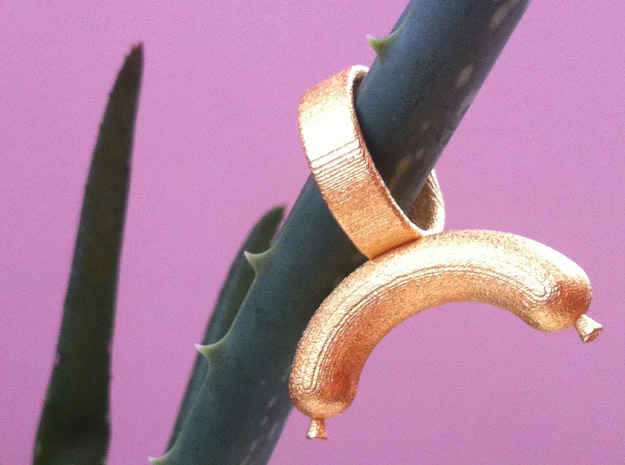 Sausage Ring in Polished Gold Steel