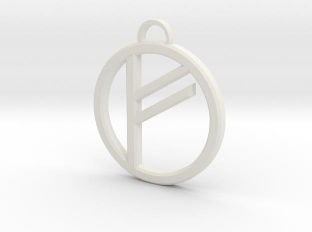 Runic Freya Pendant in White Natural Versatile Plastic