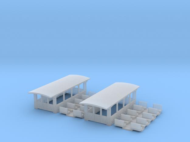 SET 2x Aussichtswagen (N 1:160) 3d printed