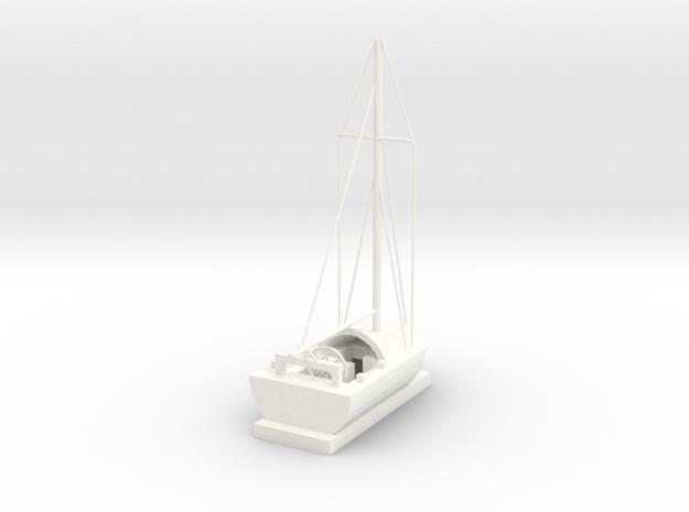 Sailing Ship in White Processed Versatile Plastic