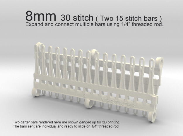 30 tine knitting garter bar X 2 - 8mm v3 3d printed 8mm - 30 stitch ( two 15 stitch )