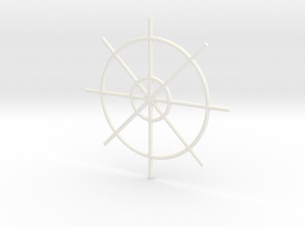 Steering Wheel  in White Processed Versatile Plastic
