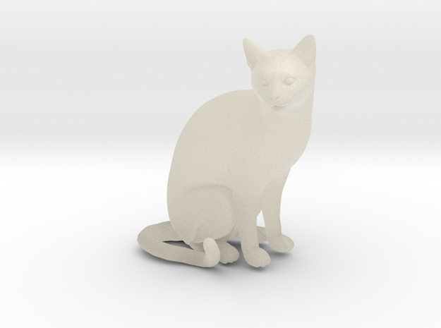Cat sitting 1/29 scale in White Acrylic