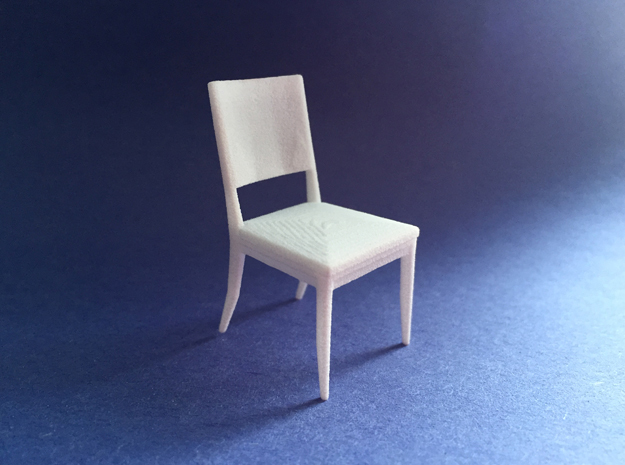 Dining Chair 1:24 scale in White Natural Versatile Plastic