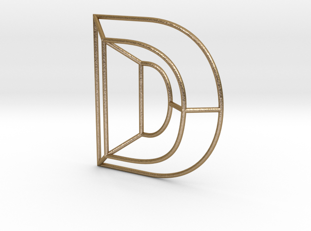 D Typolygon. in Polished Gold Steel