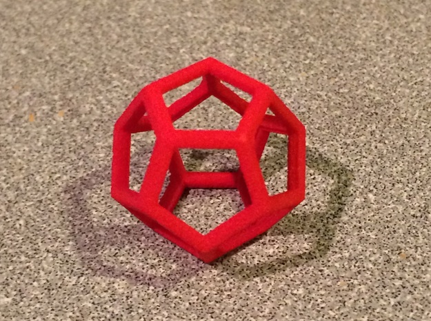 """Dodecahedron Wire Frame - 0.3"""" side in Red Strong & Flexible Polished"""
