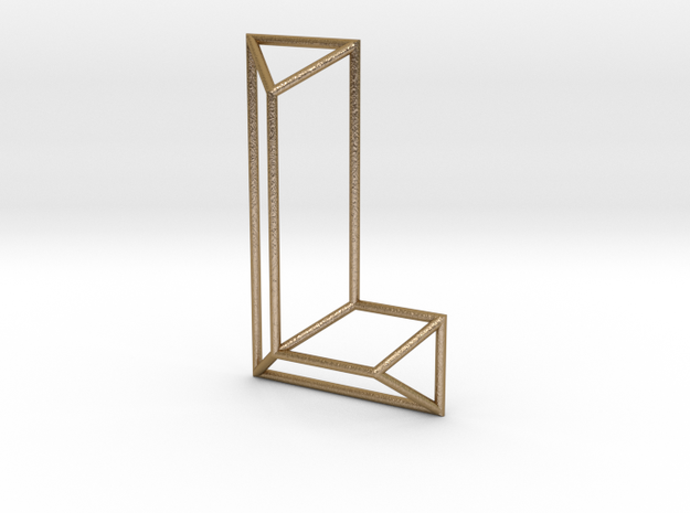 L Typolygon in Polished Gold Steel