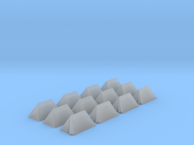 12 Small Tents for 6mm, 1/300 or 1/285 in Smooth Fine Detail Plastic