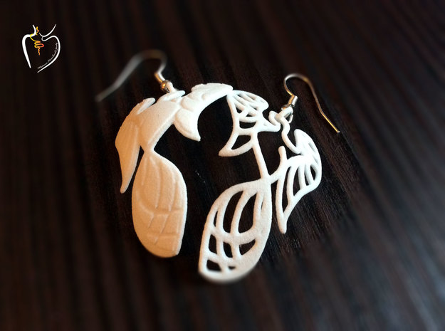 Phoenix Earrings (conture + filled) in White Natural Versatile Plastic
