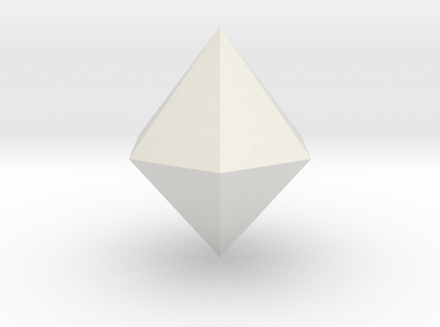 Hexagonal dipyramid in White Natural Versatile Plastic