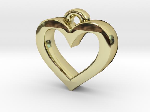 Heart Frame Pendant in 18k Gold Plated Brass