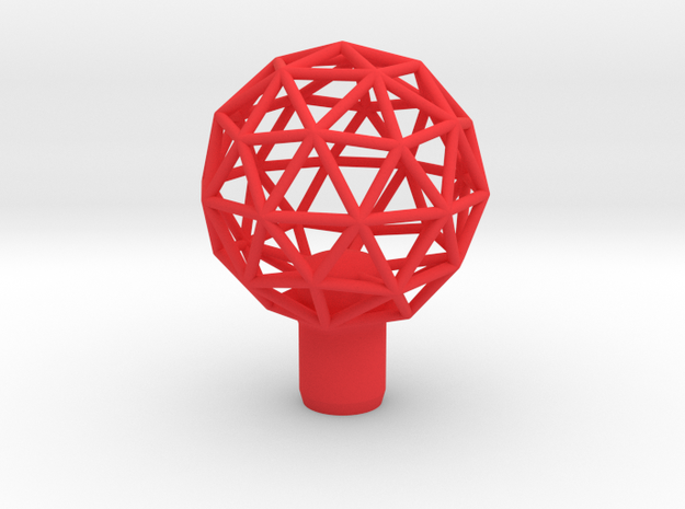 """Shift Knob Geodesic 12x1.25 2.25"""" in Red Strong & Flexible Polished"""